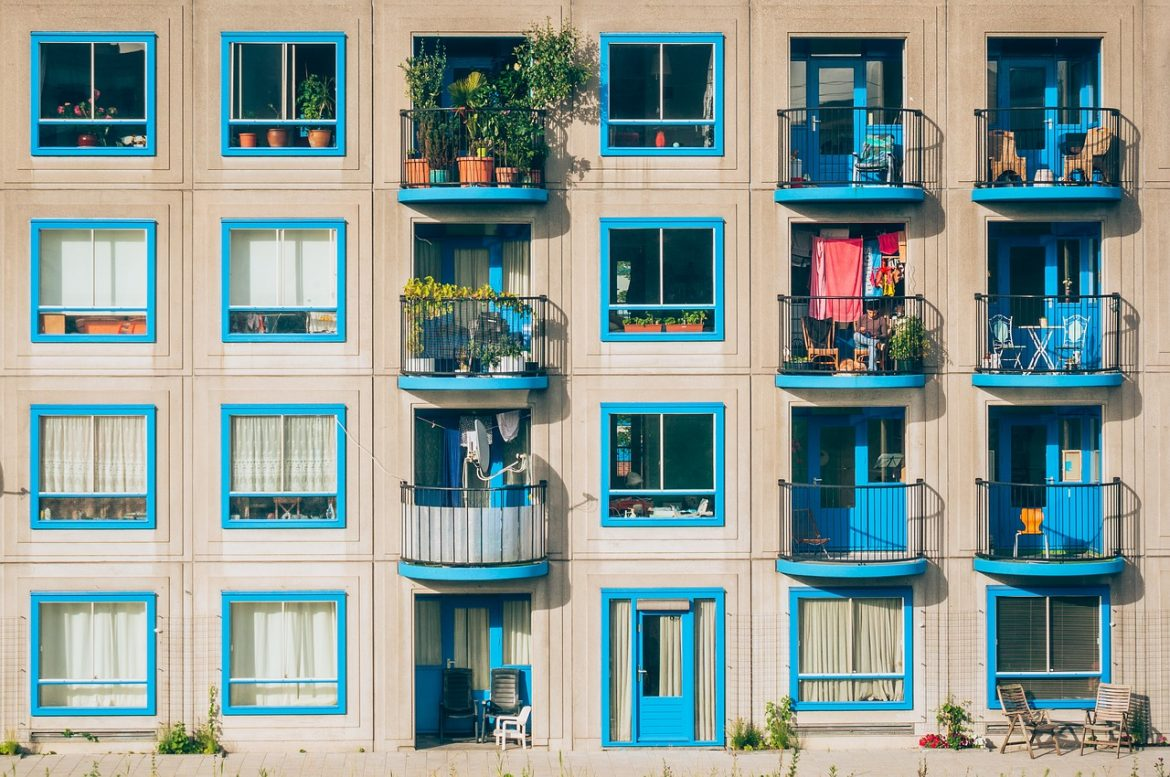 Blue and beige apartment building